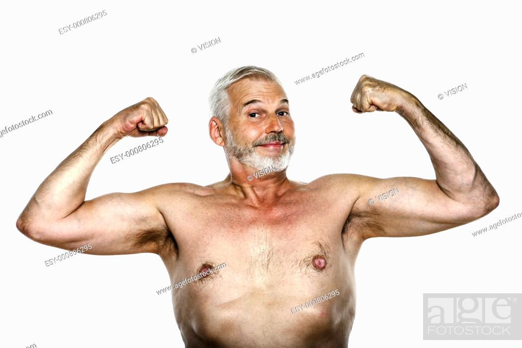 Stock Photo: caucasian man portrait showing biceps cheerful isolated studio on white background.