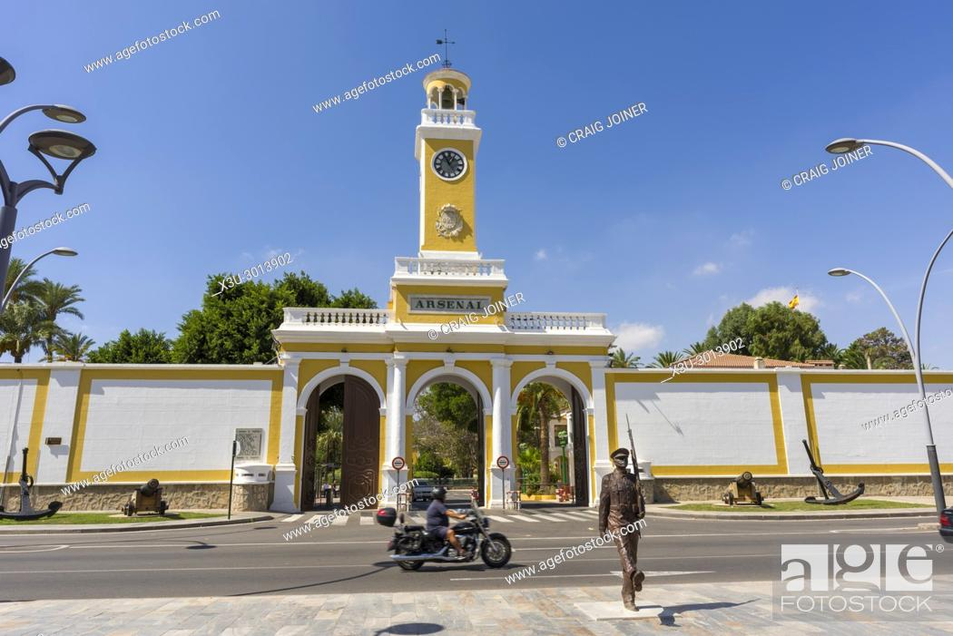 Stock Photo: Entrance to the Cartagena Naval Base in the city of Cartagena, Region of Murcia, Spain.