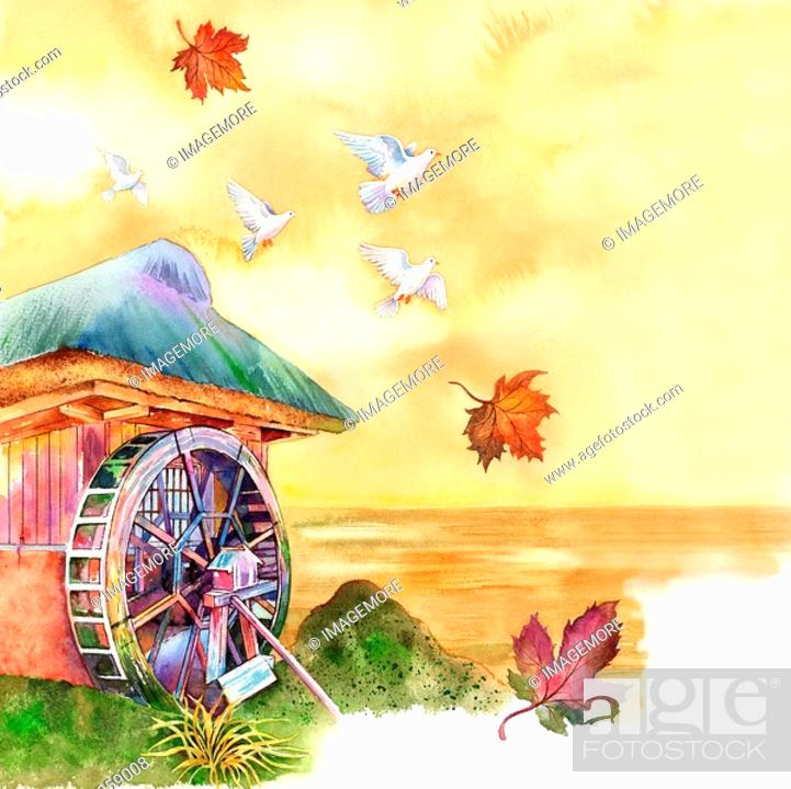 Stock Photo: Animal, Watercolor painting of doves flying above a hut.