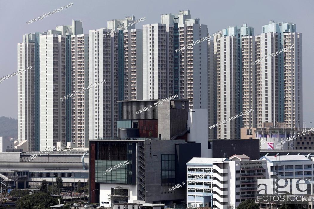 Stock Photo: Development area with high-rise residential building Tin Wai New Town Shue, social housing, Yuen Long District, New Territories, Hong Kong, China.
