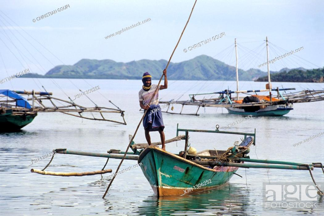 Stock Photo: outrigger boats, Flores island, Lesser Sunda Islands, Republic of Indonesia, Southeast Asia and Oceania.