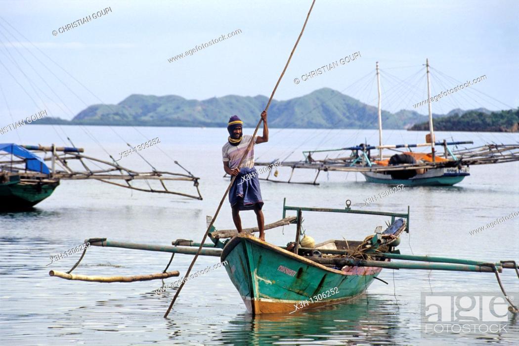 Stock Photo: outrigger boats, Flores island, Lesser Sunda Islands, Republic of Indonesia, Southeast Asia and Oceania.
