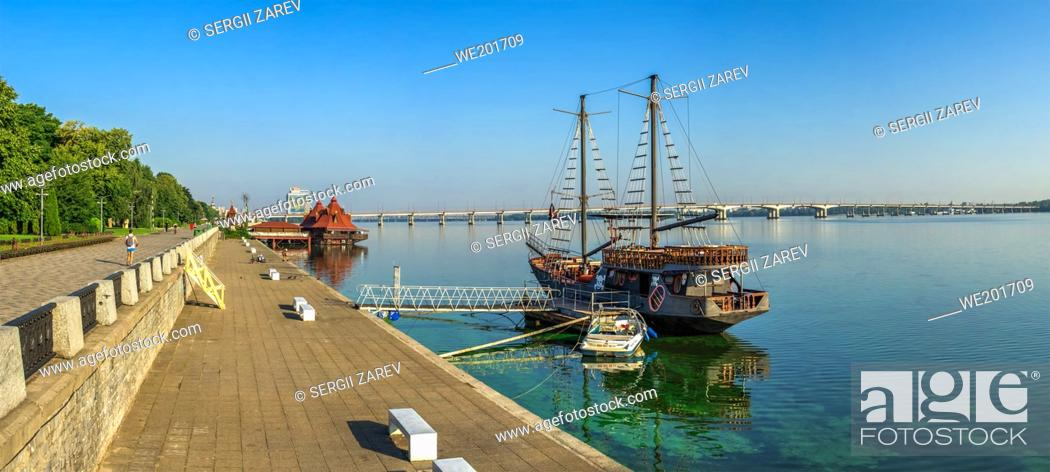 Stock Photo: Dnipro, Ukraine 07. 18. 2020. Pleasure boats on the Dnipro embankment on a sunny summer morning.