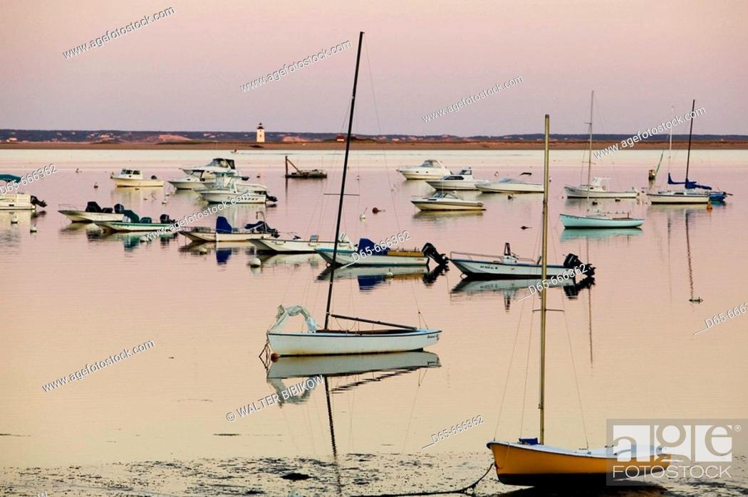 Stock Photo: USA-MASSACHUSETTS-Cape Cod: Provincetown- Provincetown Harbor / Dusk.