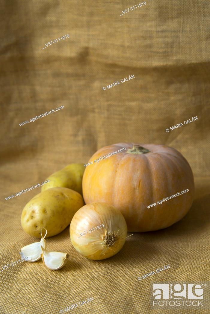 Stock Photo: Pumpkin, Onion, Potatoes and garlic. Still life.