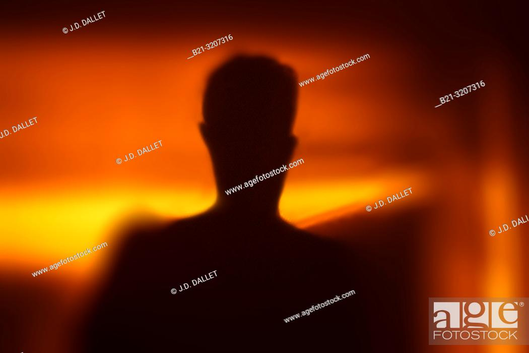 Stock Photo: Silhouette of man.