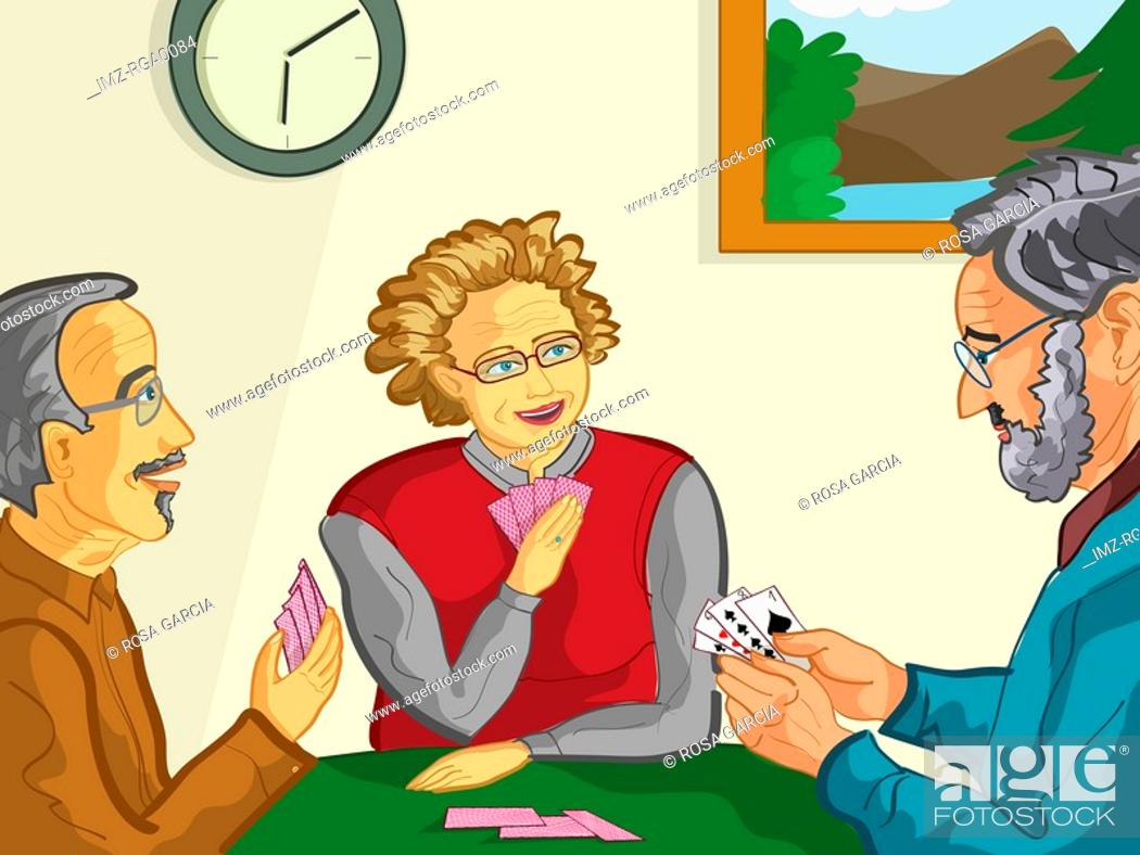 Stock Photo: A group of elderly people playing a card game together.