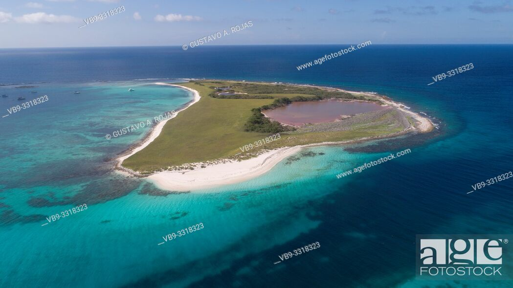 Stock Photo: Aerial View, sarky Archipelago Caribbean Los Roques, .