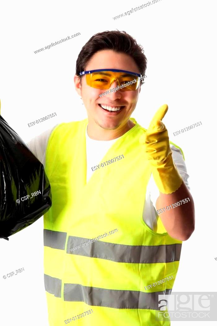 Stock Photo: You, come help me clean up!.