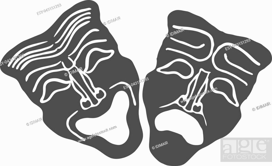 Vecteur de stock: Theatrical masks isolated on white background Vector Illustration EPS10.