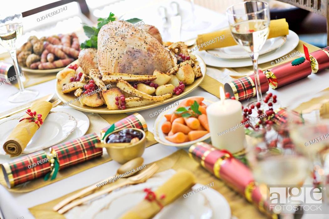 Stock Photo: Christmas dinner.