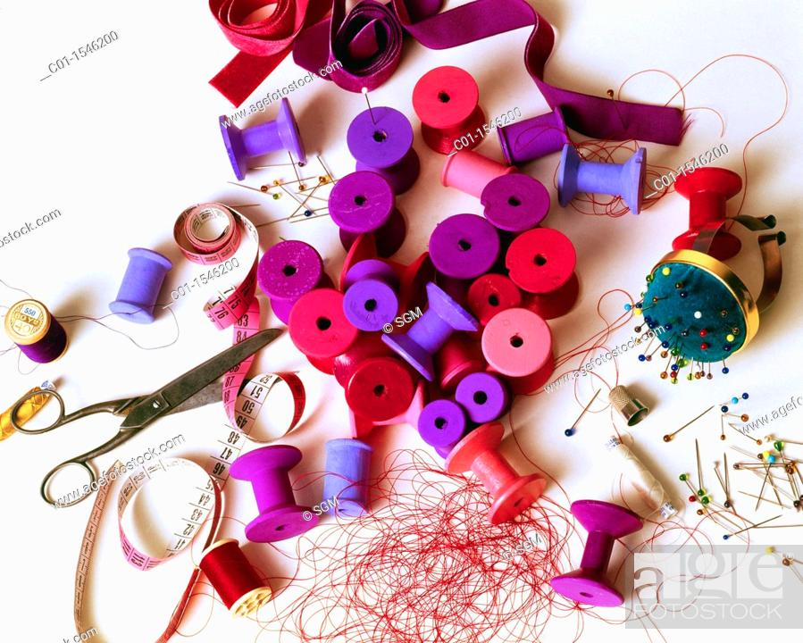 Stock Photo: Sewing thread reels.