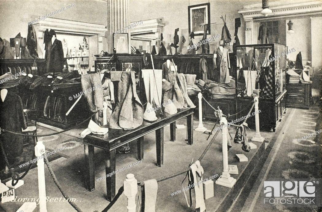 Stock Photo: Selfridges & Co, Oxford Street, London - Tailoring Section. Founded by American-born retail magnate Harry Gordon Selfridge (1858 - 1947).