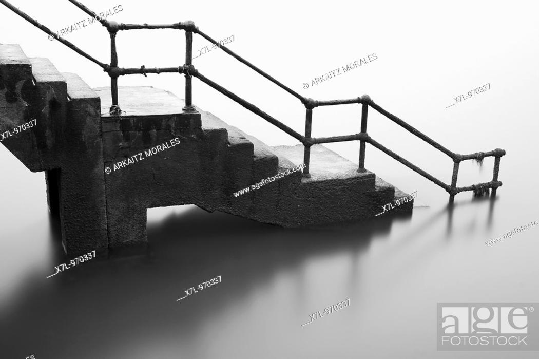 Stock Photo: Stairway into the sea, Las Arenas, Getxo, Basque country, spain.