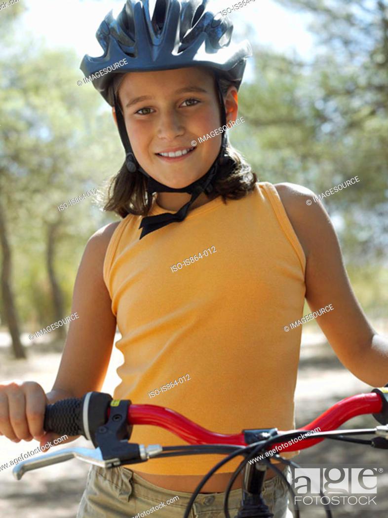 Stock Photo: Girl with bike.