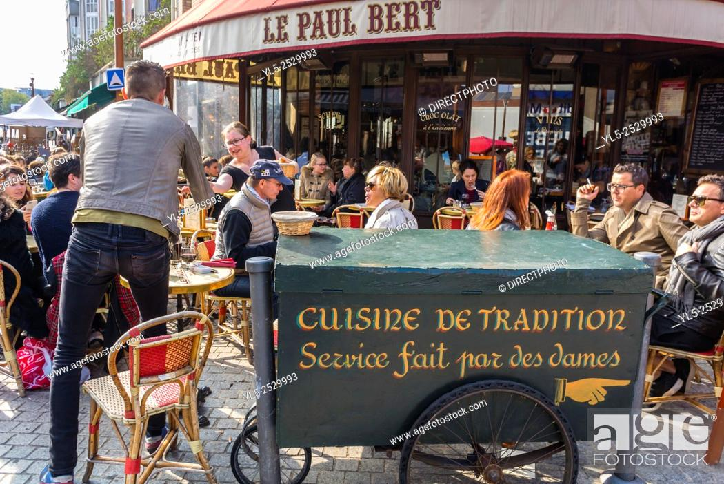 Paris France People Sharing Meals On Terrace Of Traditional French