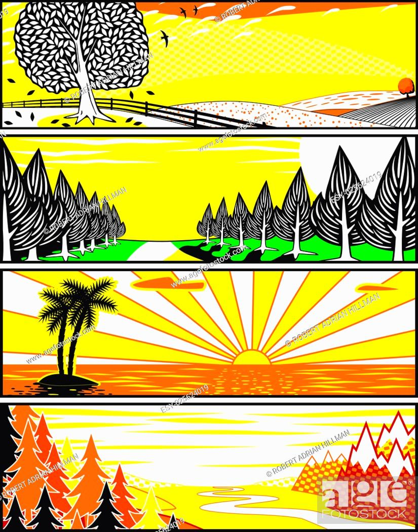 Stock Vector: Set of editable vector banner illustrations of landscapes in popart style.