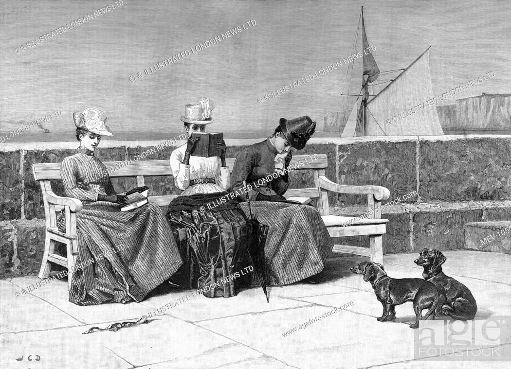 Admirable Three Ladies Read By The Sea On A Bench Observed By Two Frankydiablos Diy Chair Ideas Frankydiabloscom