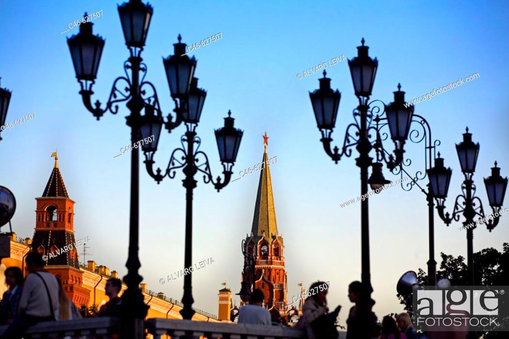 Stock Photo: Manezhnaya Square, Kremlin. Moscow, Russia.