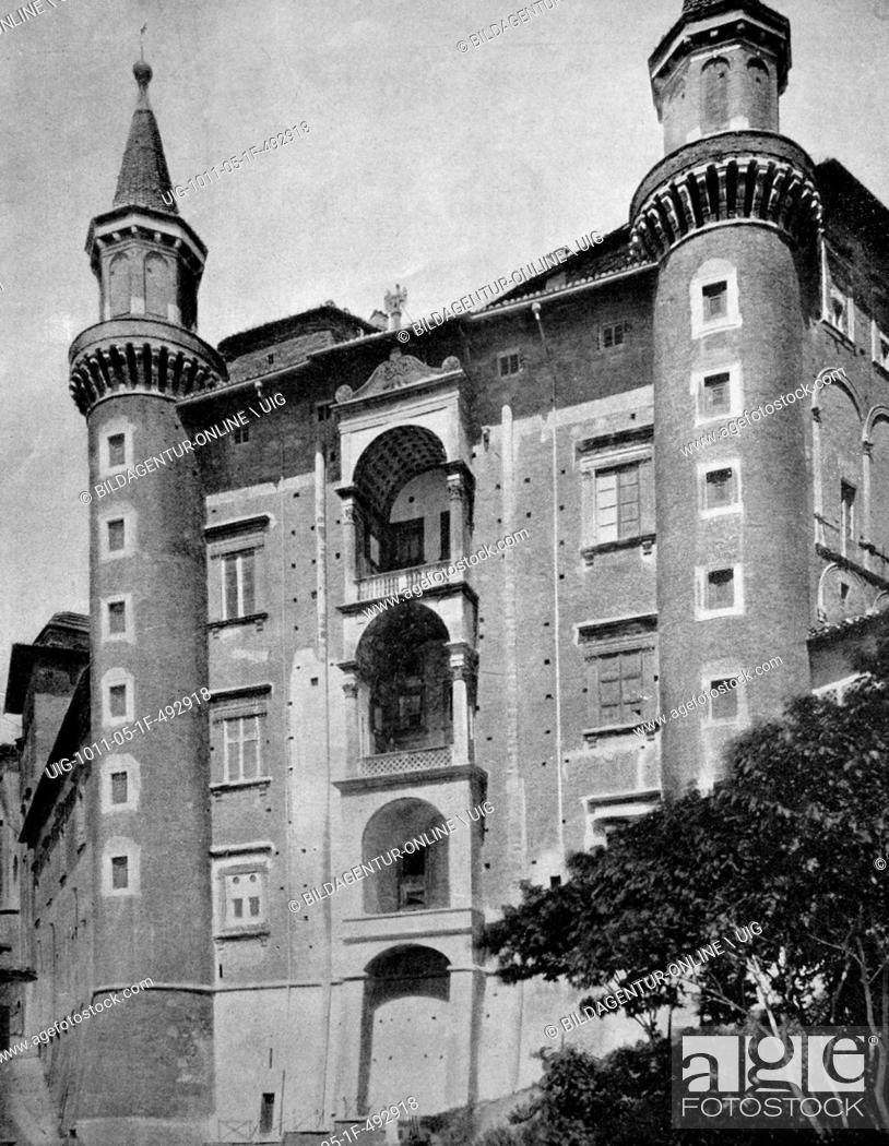 Stock Photo: One of the first autotypes of the ducal palace, urbino, italy, historical photograph, 1884.