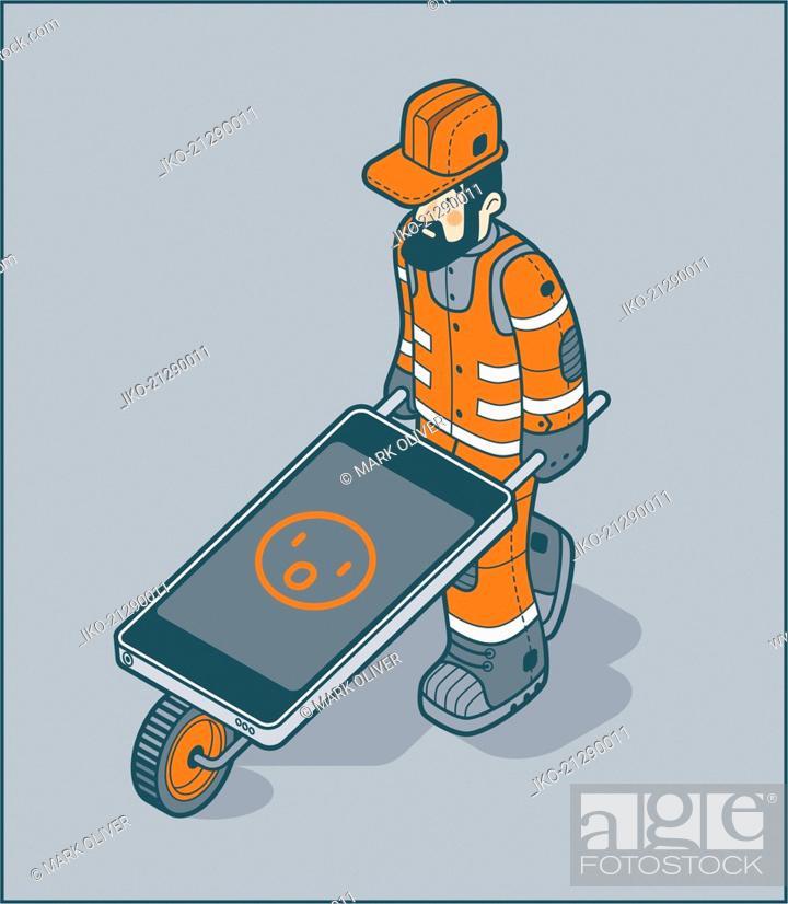 Stock Photo: Workman pushing smart phone wheelbarrow with surprised emoji.