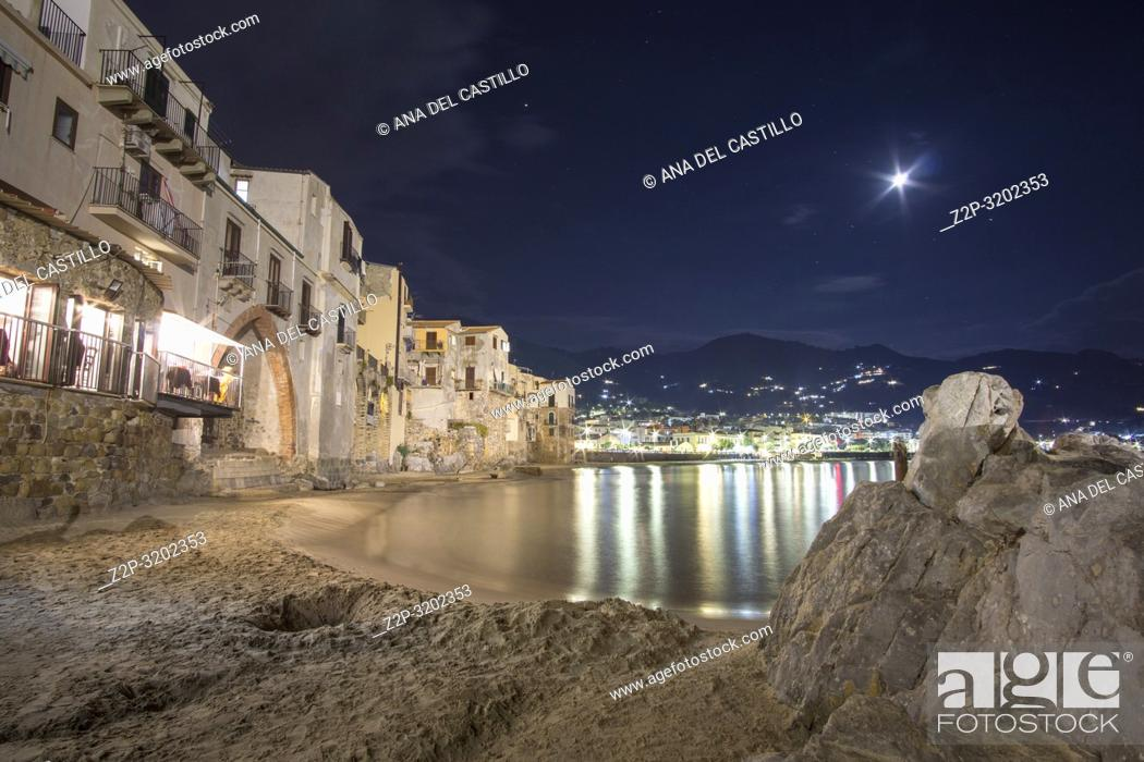 Stock Photo: Cefalu seascape by night Sicily village on the sea Italy.