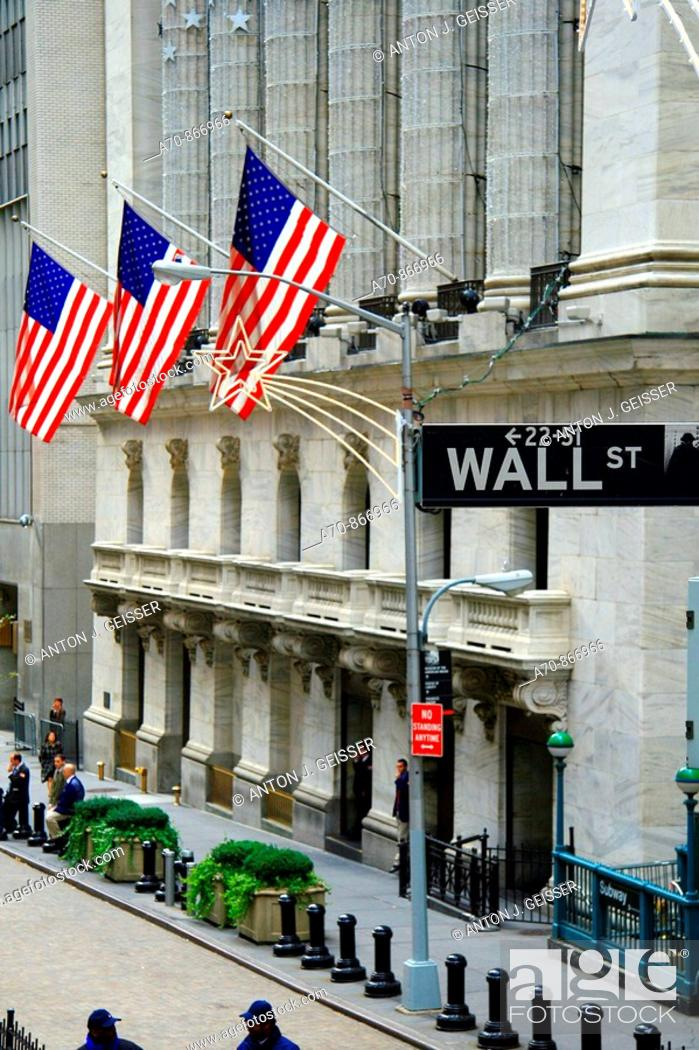 Stock Photo: Stock Exchange building, Wall Street, financial district. Manhattan, New York City. USA.