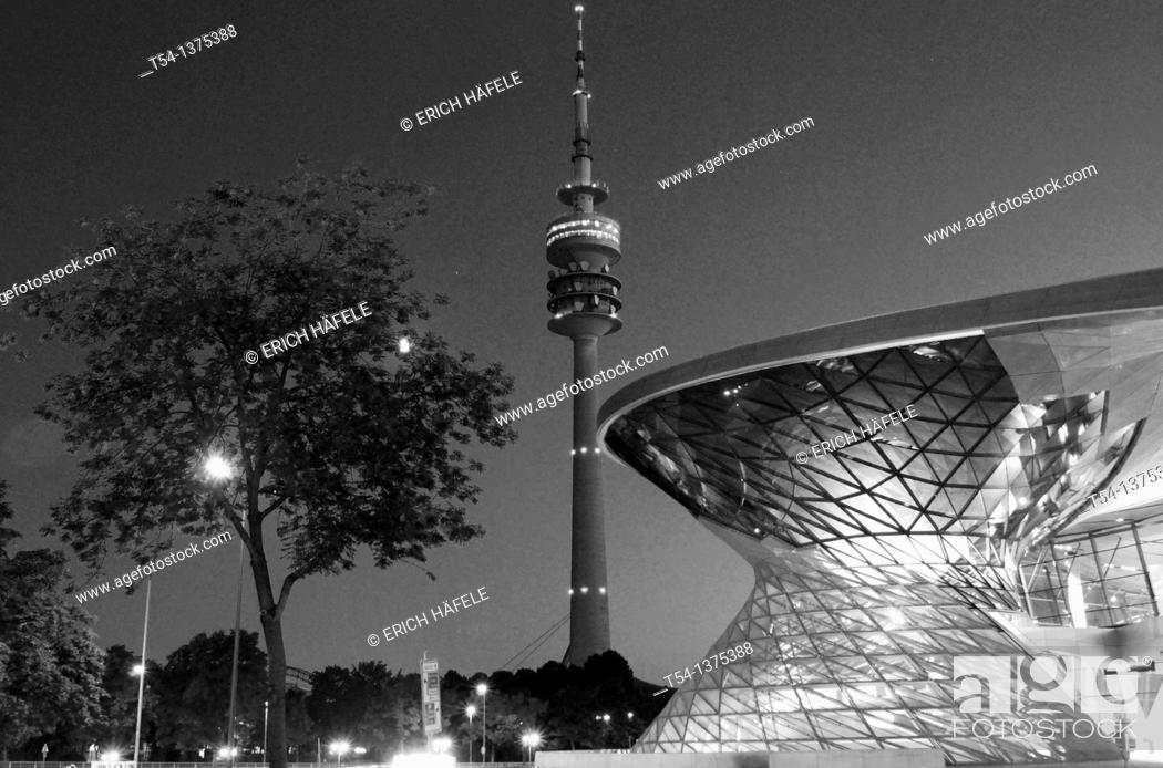 Stock Photo: Olympic Tower and the BMW Welt in the blue hour.