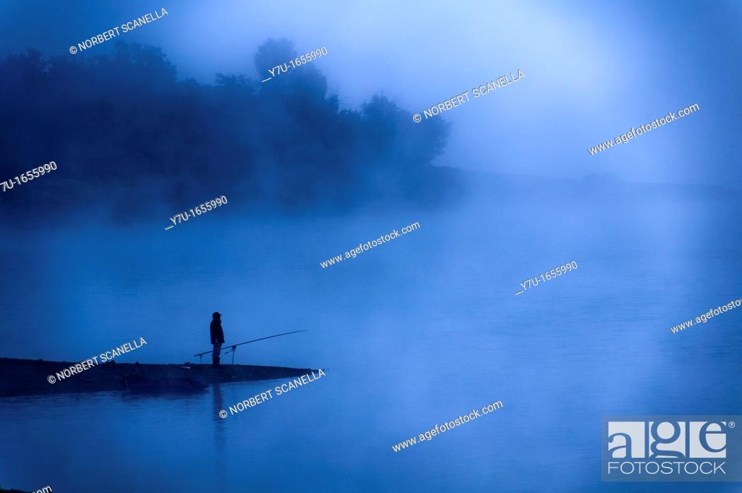 Stock Photo: Europe, France, Var 83, Lake Saint Cassian, fisherman in the early morning.