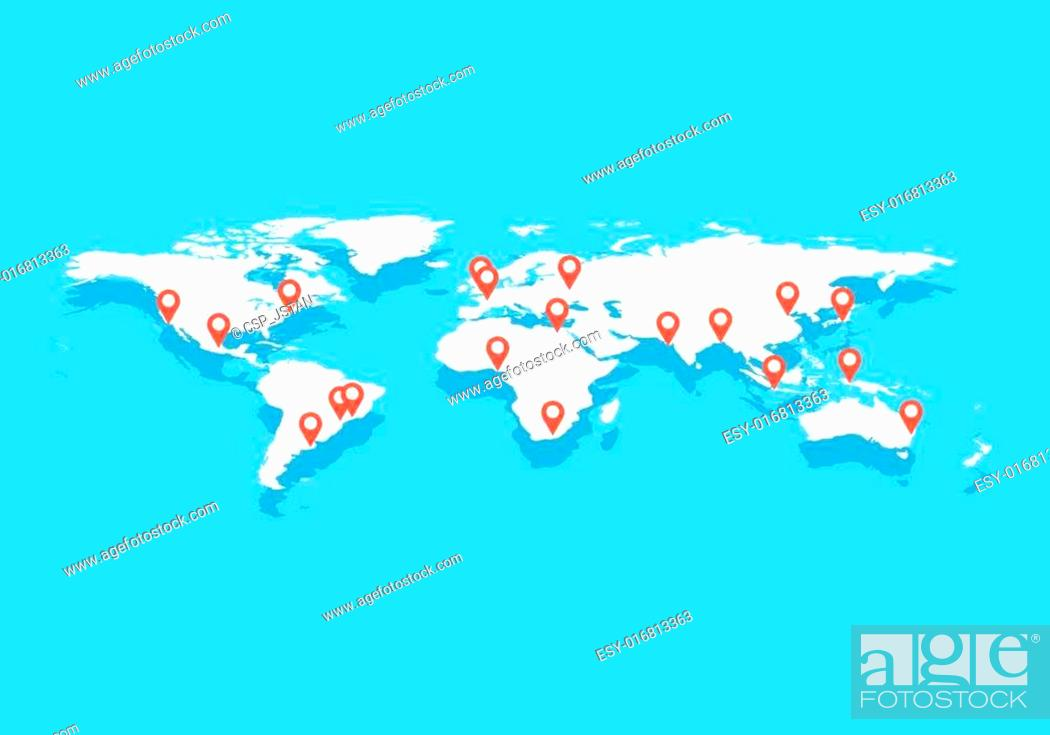 World map with big cities, vector, Stock Vector, Vector And ...