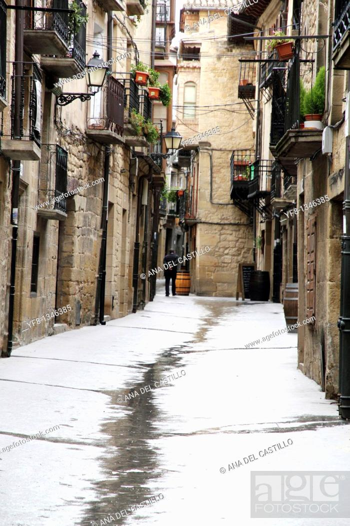 Stock Photo: Street Laguardia town Alava Euskadi Basque country Spain.