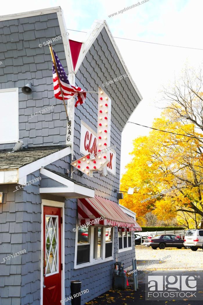 Stock Photo: Clam shack, Clam Box of Ipswich, Massachusetts, USA.