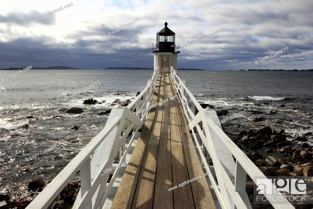 Stock Photo: Marshall Point Light Station was established in 1832 to assist boats entering and leaving Port Clyde Harbor  The original lighthouse was a 20-foot 6 1 m tower.