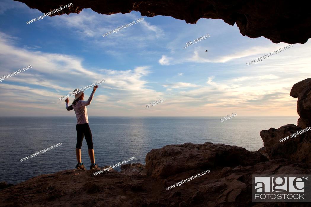 Stock Photo: Cova Foradada old cave at Cap Barbaria, Formentera, Balearic Islands, Spain.