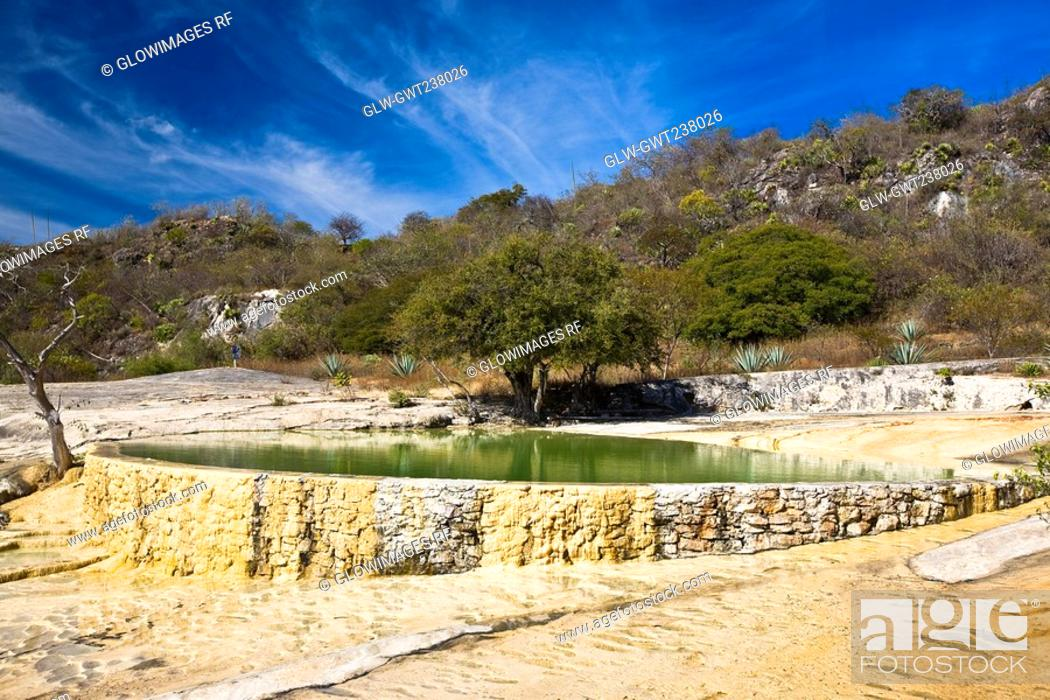 Stock Photo: Thermal pool on a hill, Hierve El Agua, Oaxaca State, Mexico.