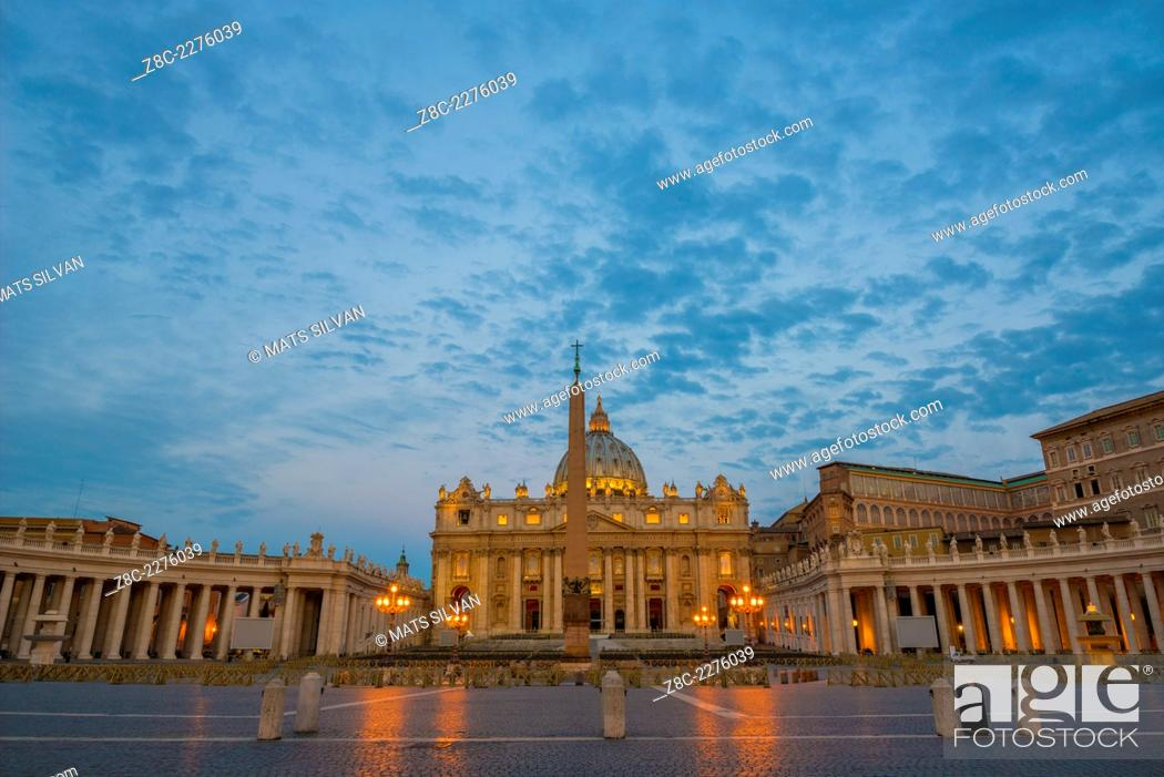 Stock Photo: Vatican City in dusk in Rome, Italy.
