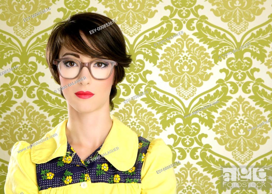 Stock Photo: nerd woman retro portrait 70s wallpaper vintage housewife.