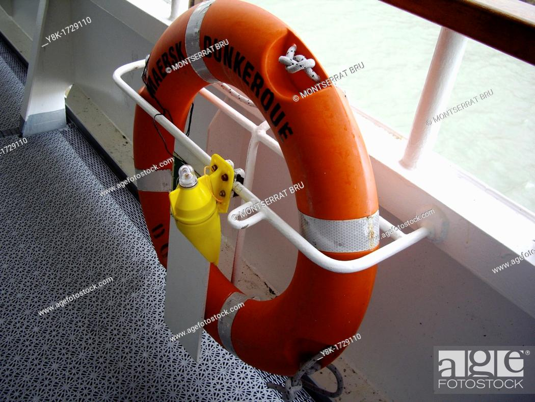 Stock Photo: Life belt on ferry boat, Dover Dunkerque.