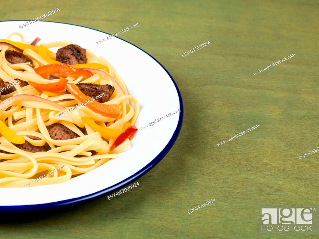 Stock Photo: Italian Style Linguine Pasta With Sausage and Peppers Food.