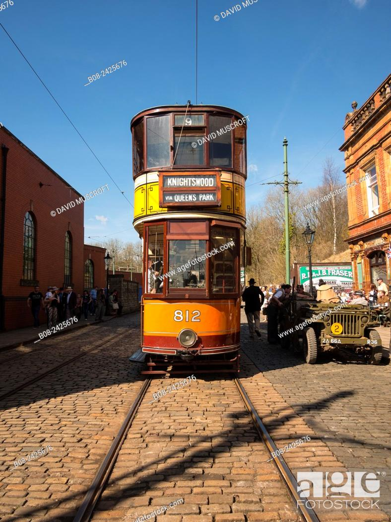 Stock Photo: A vintage tram at the National Tramway Museum, Crich, Derbyshire, UK.