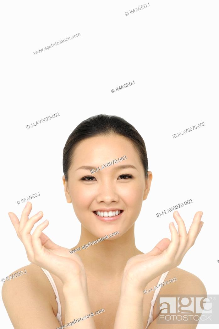 Stock Photo: bright picture of lovely woman over white.