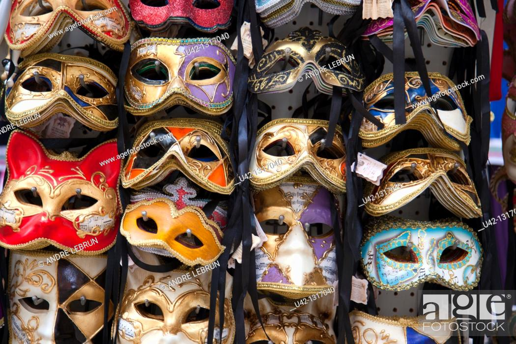 Stock Photo: Some of the many masks on sale in Venice, Veneto, Italy.
