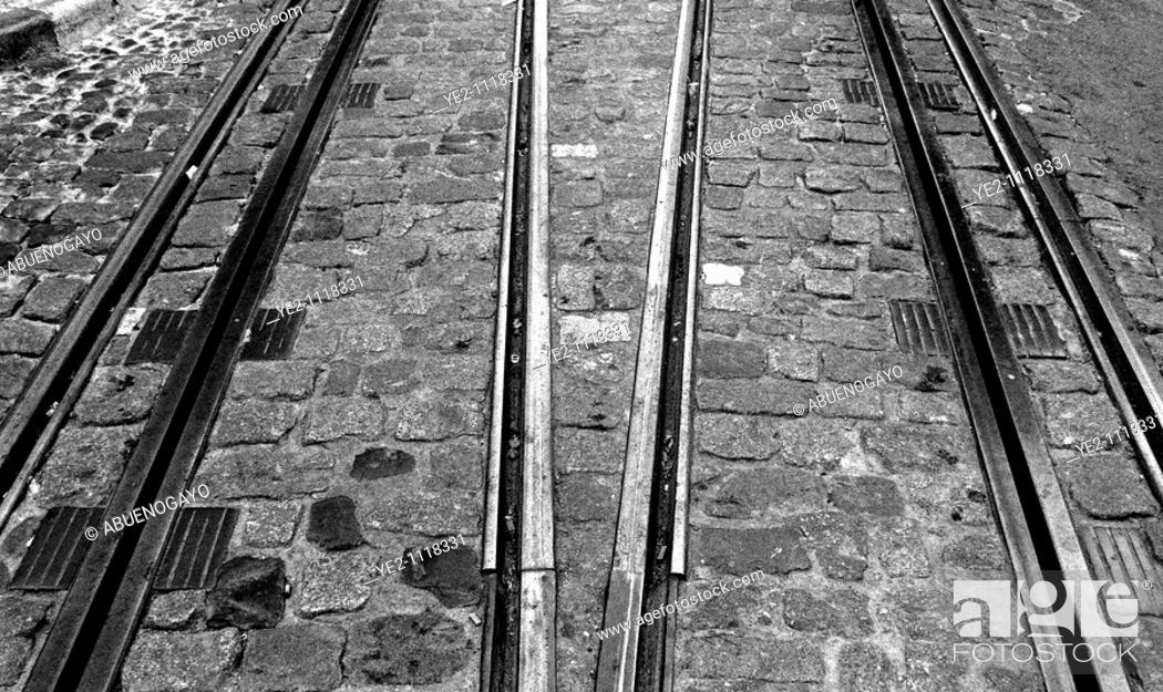 Stock Photo: Tram track, Lisbon, Portugal.