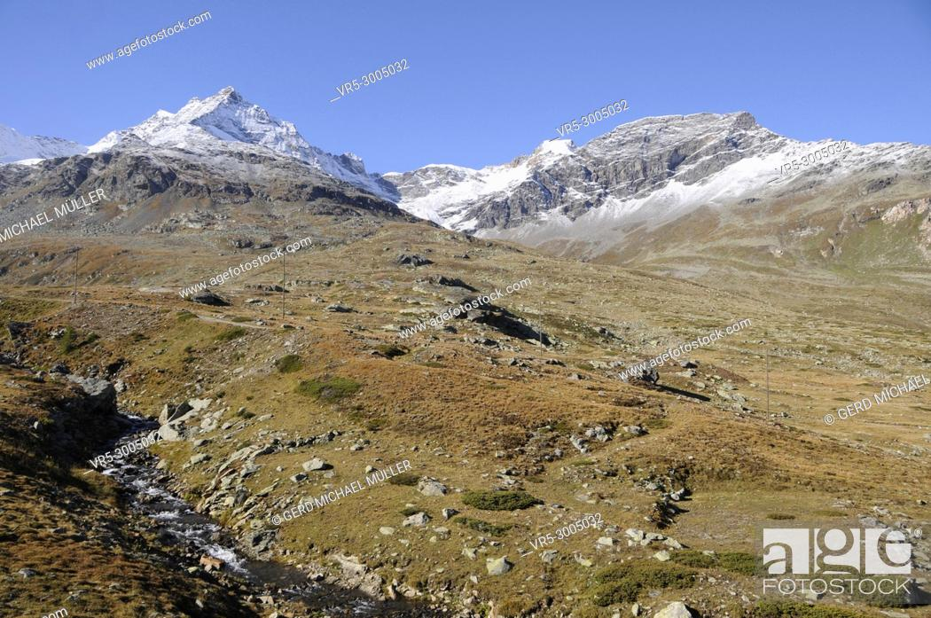 Stock Photo: Swiss mountain range and landscape in the Upper Engadina.
