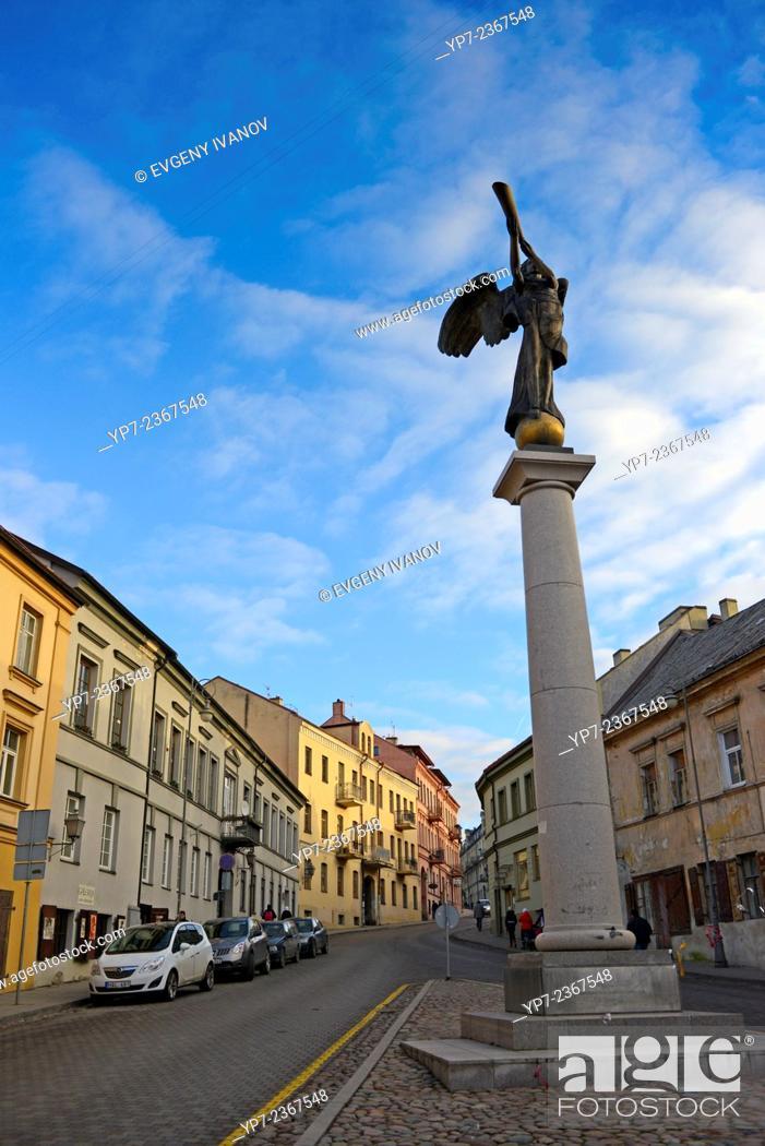 Stock Photo: The Angel of Uzupis monument in artistic neighborhood of Vilnius, Lithuania.