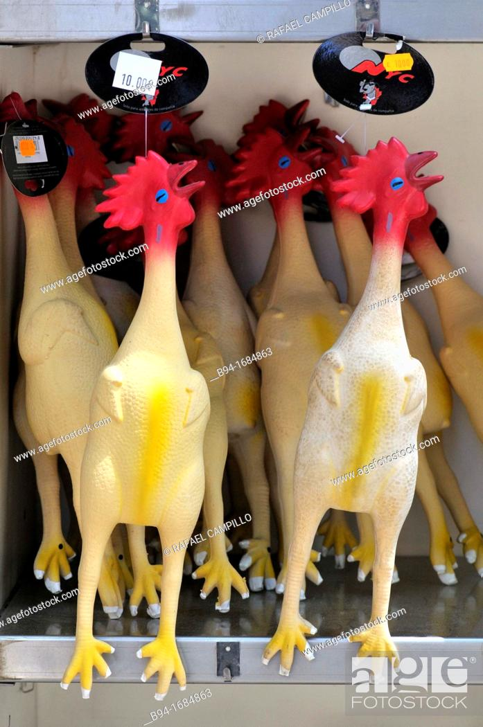 Stock Photo: Rubber toys at pet shop in Las Ramblas, Barcelona, Catalonia, Spain.