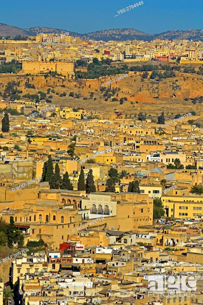 Stock Photo: City of Fes seen from the Fortress Borj, Middle Atlas, Morocco.