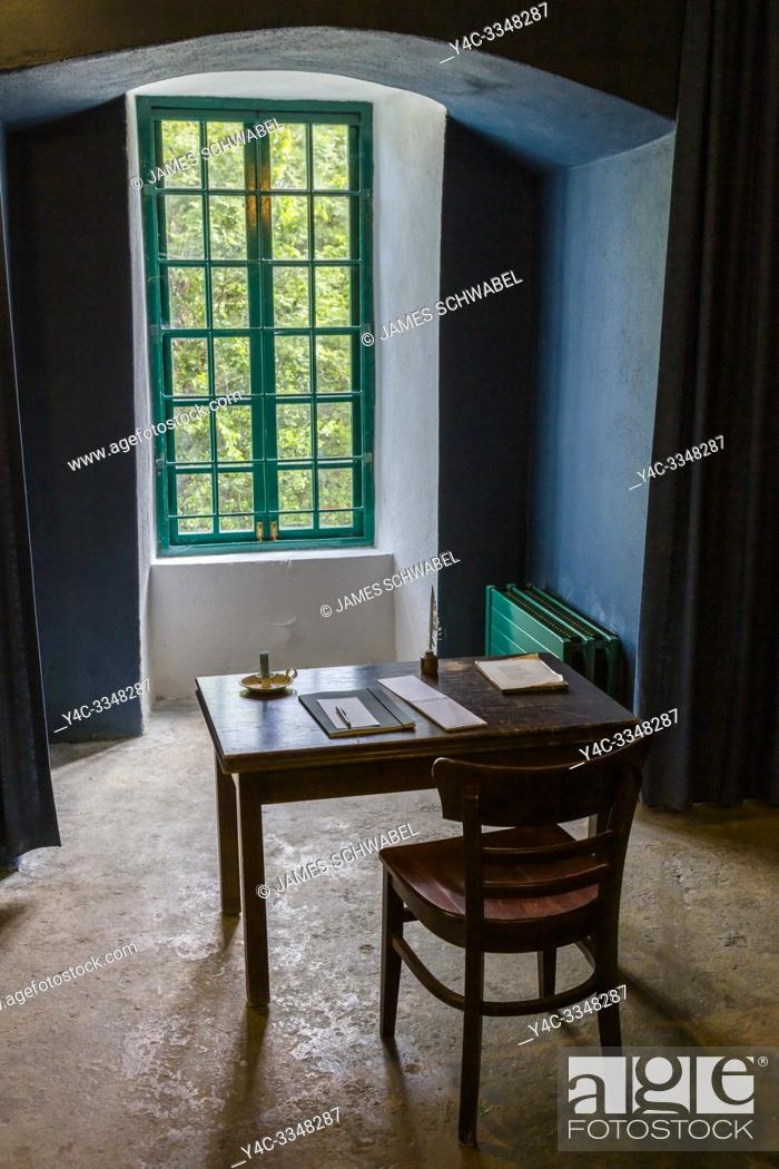 Stock Photo: Writing desk of Poet William Butler Yeats in Thoor Ballylee Castle or Yeats Tower built 15th or 16th century lived in by poet William Butler Yeats in town if.