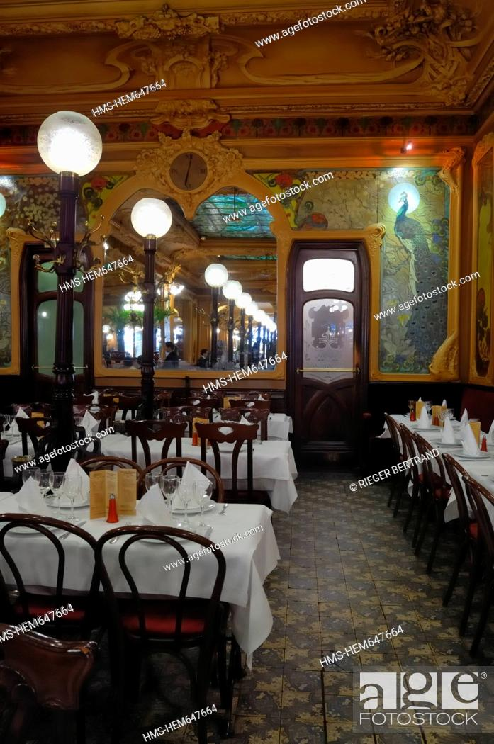 France, Paris, Art Deco restaurant Chez Julien, Stock Photo ...