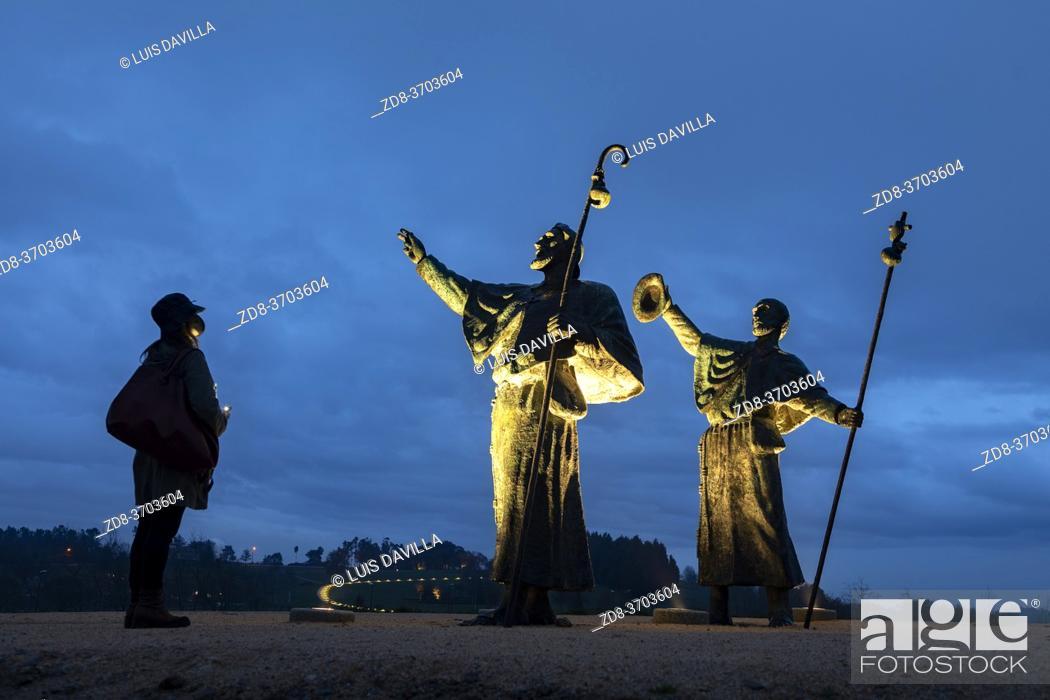 Stock Photo: sculpture of pilgrims of the Monte del gozo. santiago de compostela. galicia. spain.